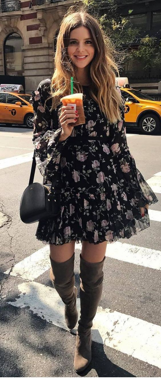 Beautiful floral dress and black accessories
