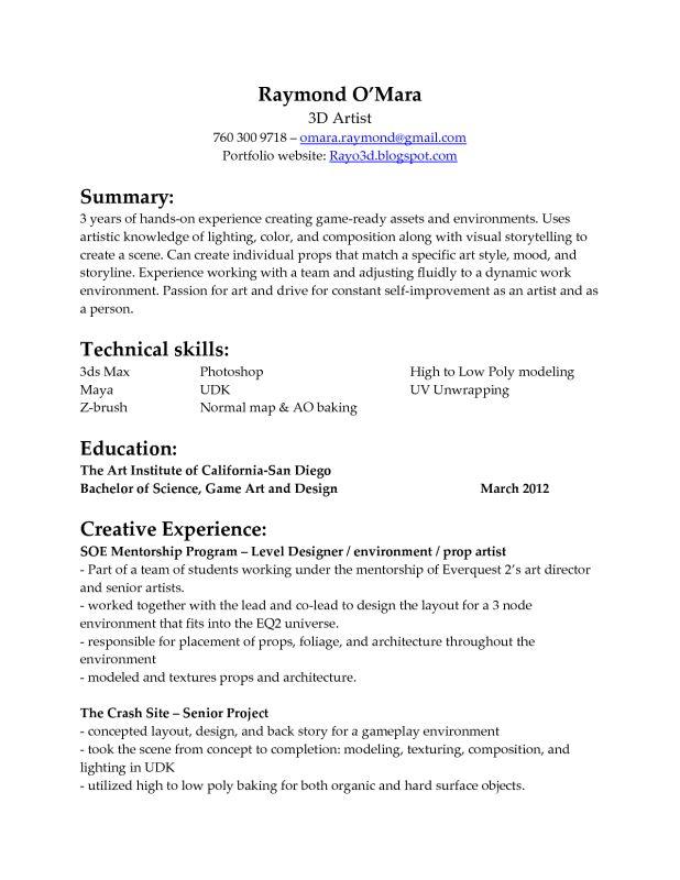 Animator3d Artist Page2 Entertainment Resumes