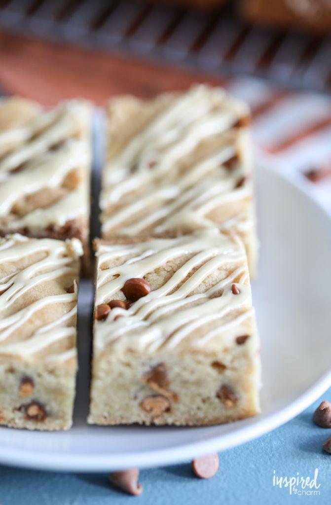 Maple Glazed Cinnamon Chip Bars - easy fall dessert recipe