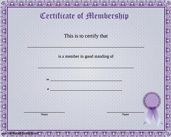 Membership Certificate Templates Membership Certificate Template - free template certificate