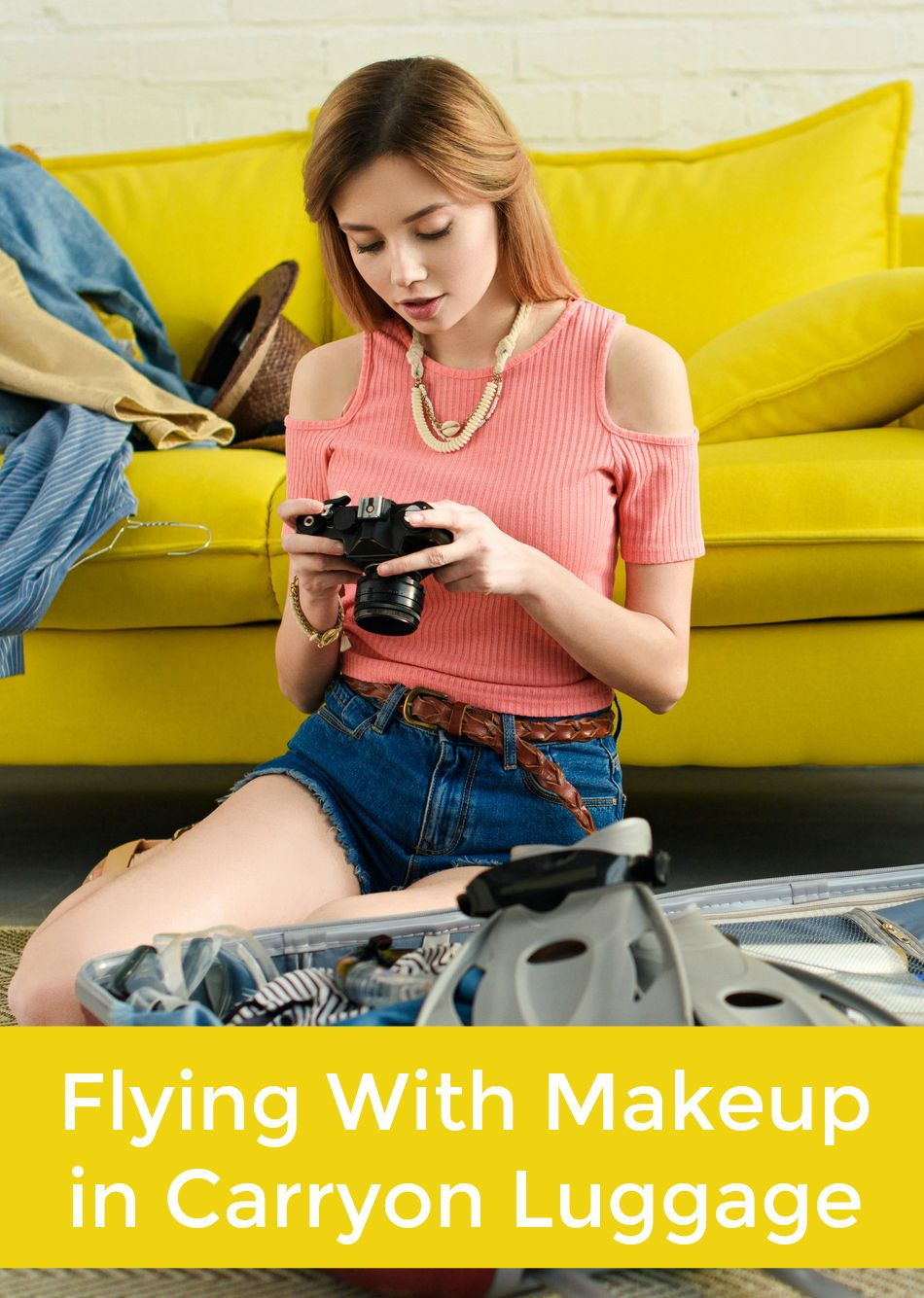 Everything you need to know about flying with makeup in your carryon luggage. #travel #flying #makeup