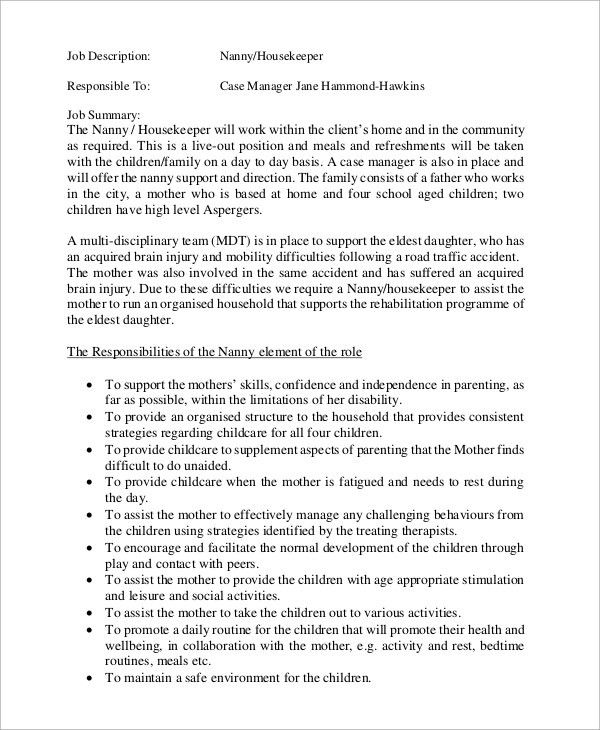 responsibilities of a nanny for resumes
