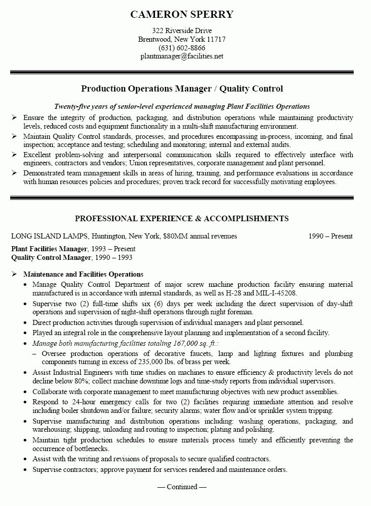 Production Manager Sample Resume Manager Resume Example  Plant Manager Resume