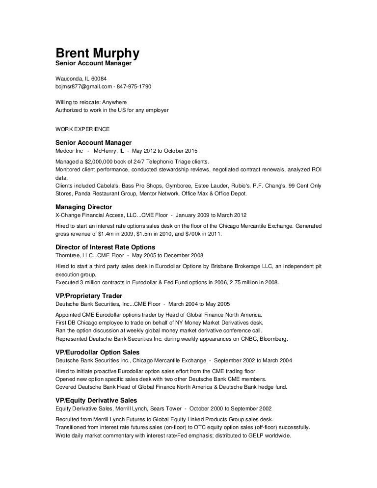 Options Trader Resume Gallery - resume format examples 2018