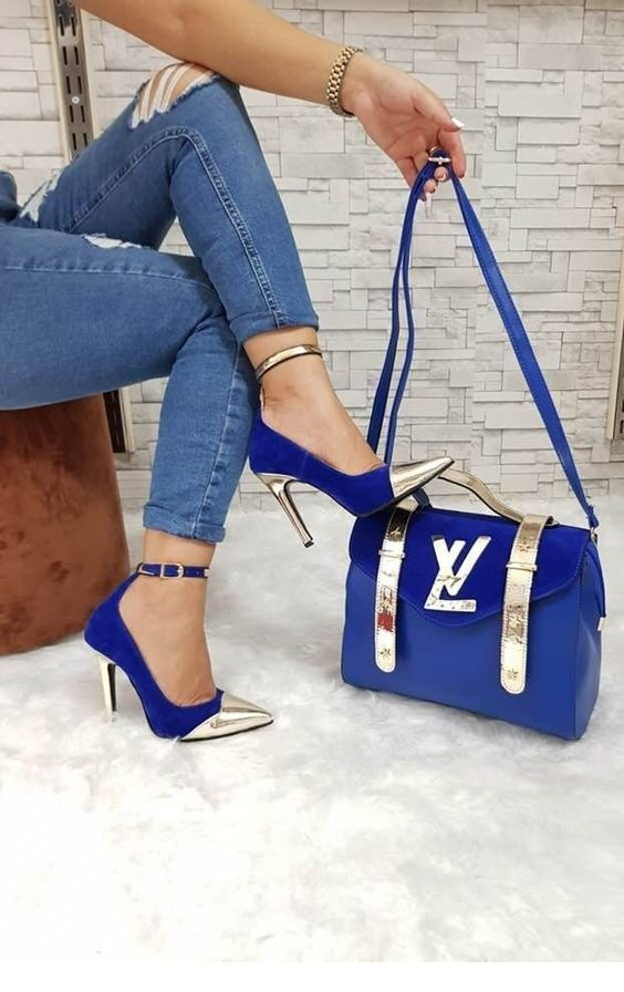 Blue jeans and shoes and bag