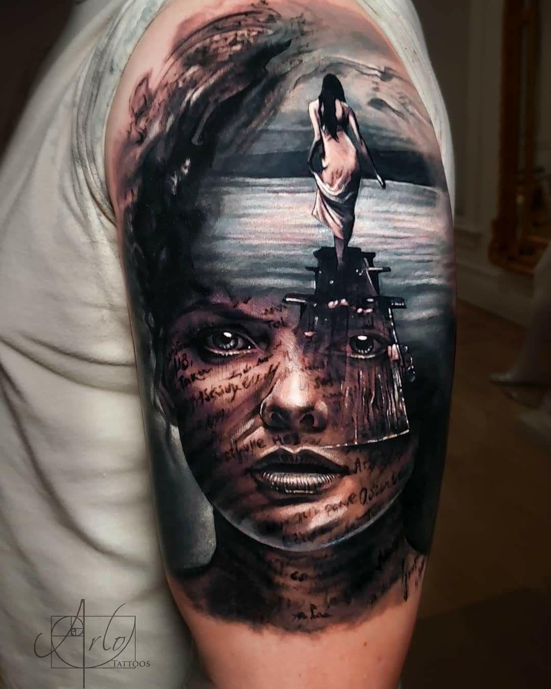 Arlo Di Cristina Arm Tattoo: Lake Tattoo, Surreal Tattoo, Tattoos