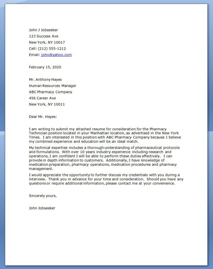 Clinical Pharmacist Cover Letter Examples