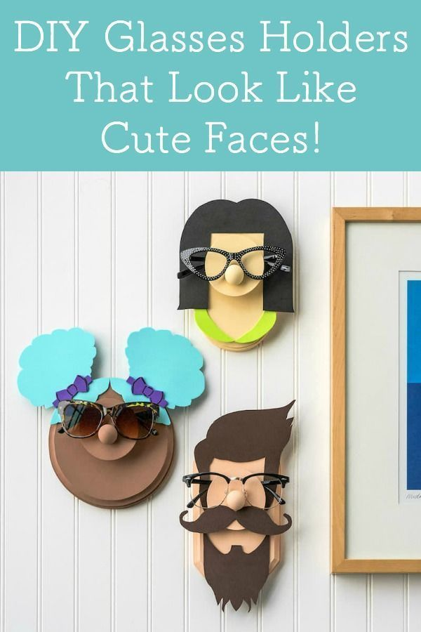 DIY Glasses Holder Display with Fun Faces - Mod Podge Rocks