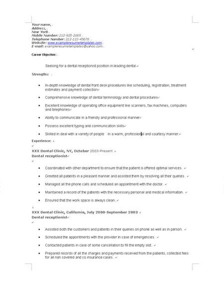 Dental Receptionist Resume Example Examples Of Resumes