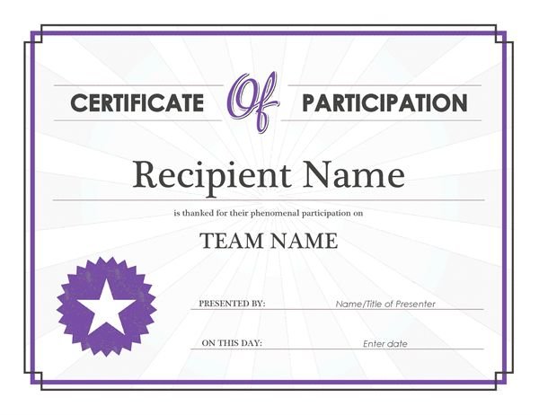 Certificate Of Participation Format Free Certificate Templates - certificate of participation free template