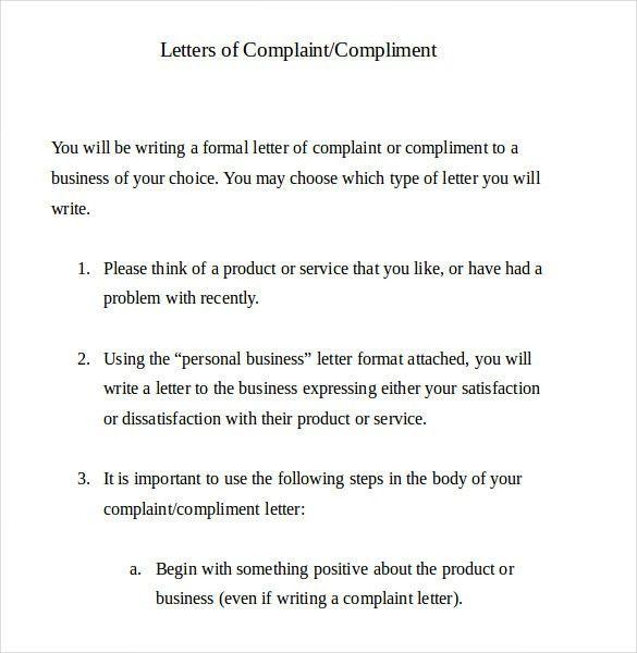 Complaint Email Template complaint letter to landlord concerning - business complaint letter format