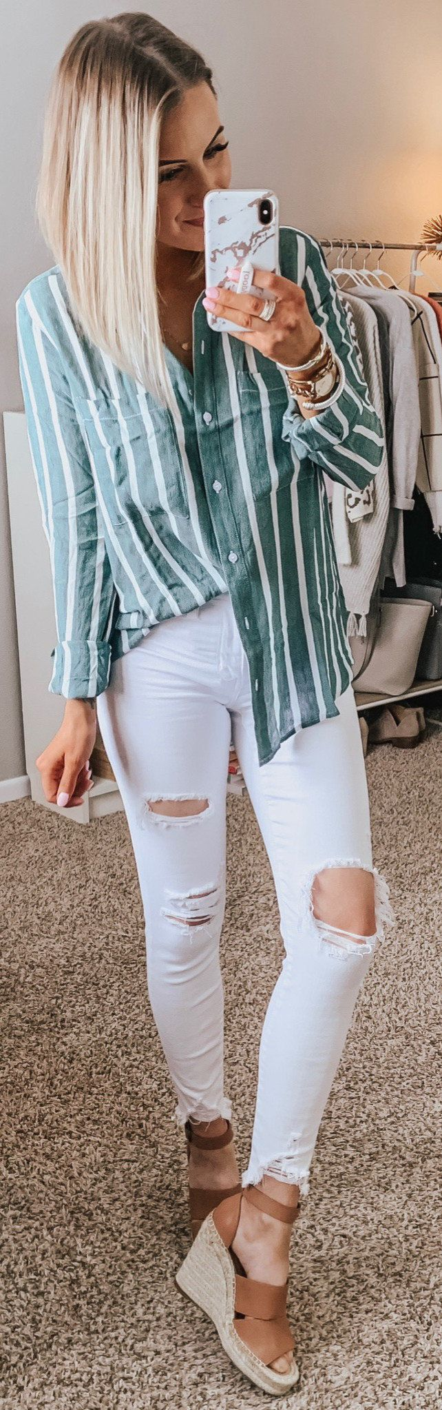 green and white stripe dress shirt #spring #outfits