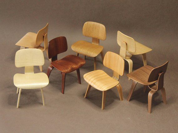Miniature 1:6 scale DCW Eames chair, handcrafted wooden dollhouse modern furniture for Blythe, B…