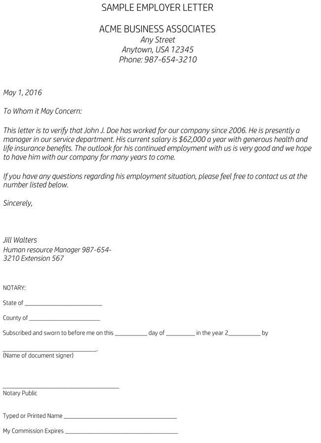 Verification Employment Sample 40 Proof Employment Letters