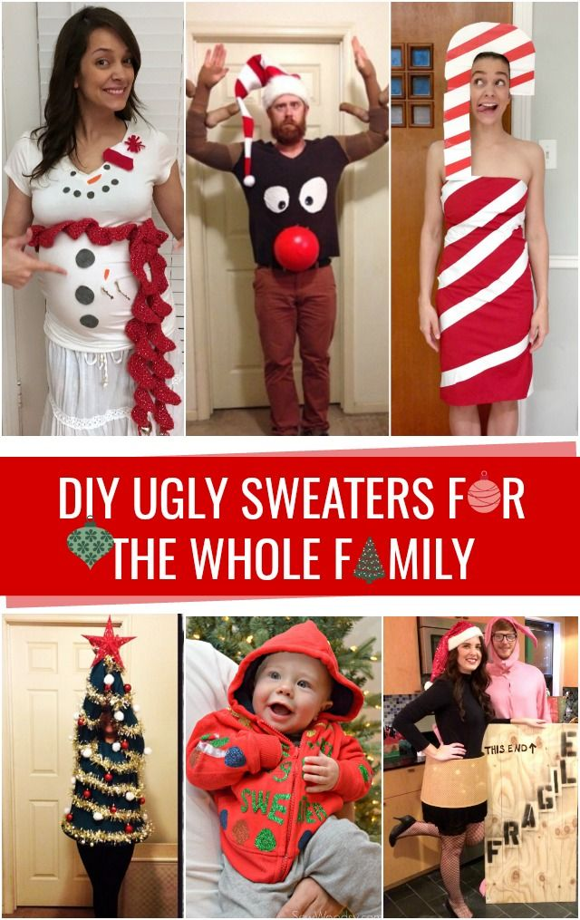 DIY Ugly Sweaters for the whole family! #uglychristmassweater