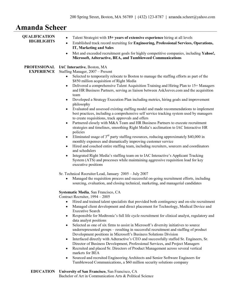 Sales Recruiter Sample Resume Recruiter Resume Example