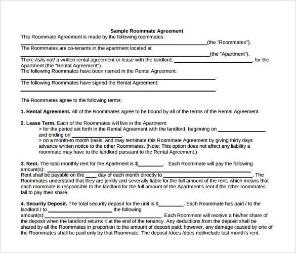 Room Rent Contract Sample 8 Room Rental Agreement Templates Free - roommate rental agreement