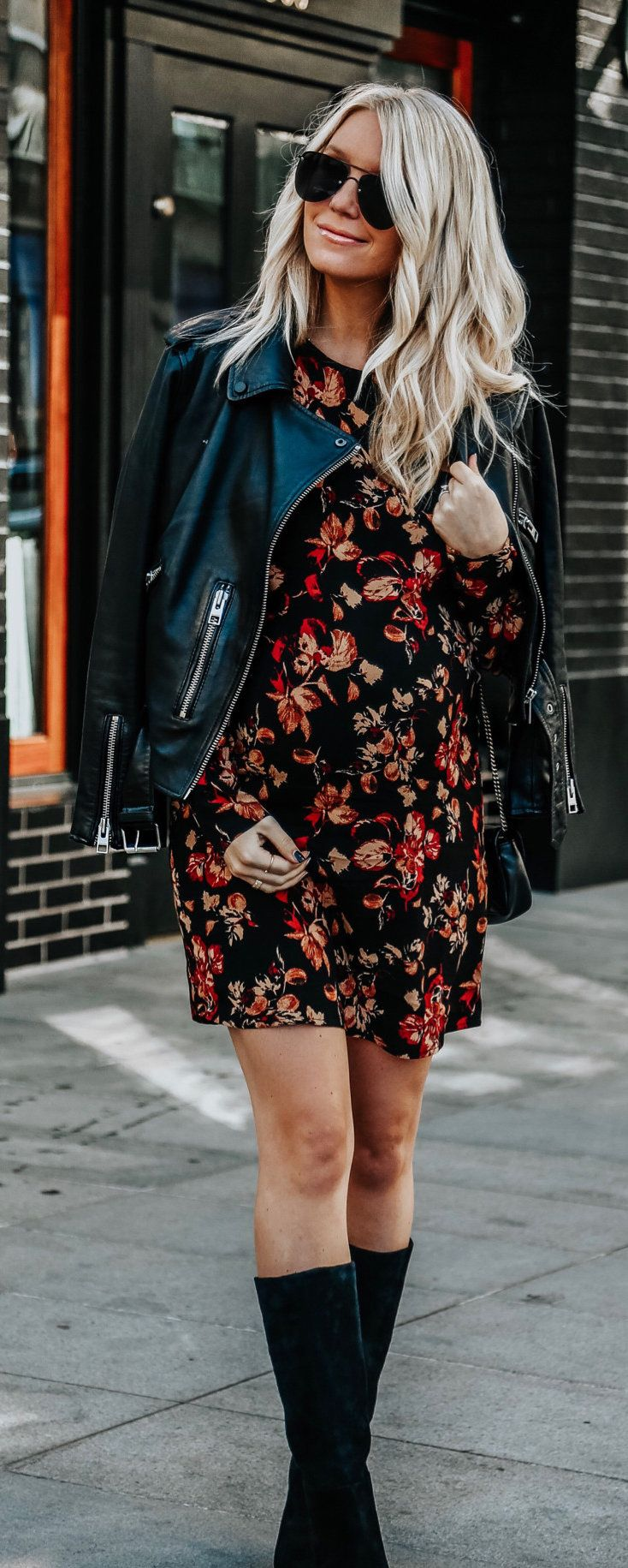 black and red floral mini dress