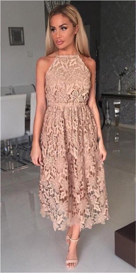 Nice long beige lace dress
