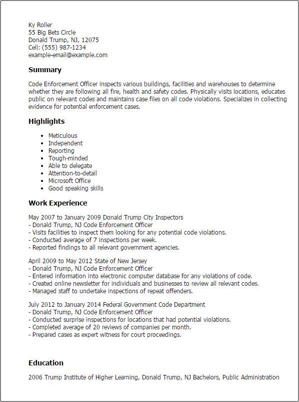code enforcement officer sample resume node2003-cvresume