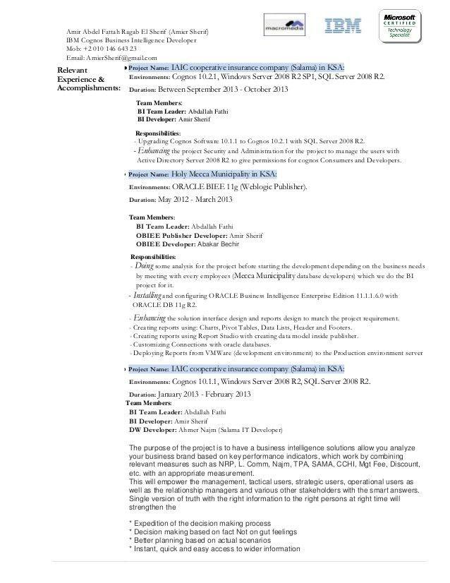 cognos resume sample
