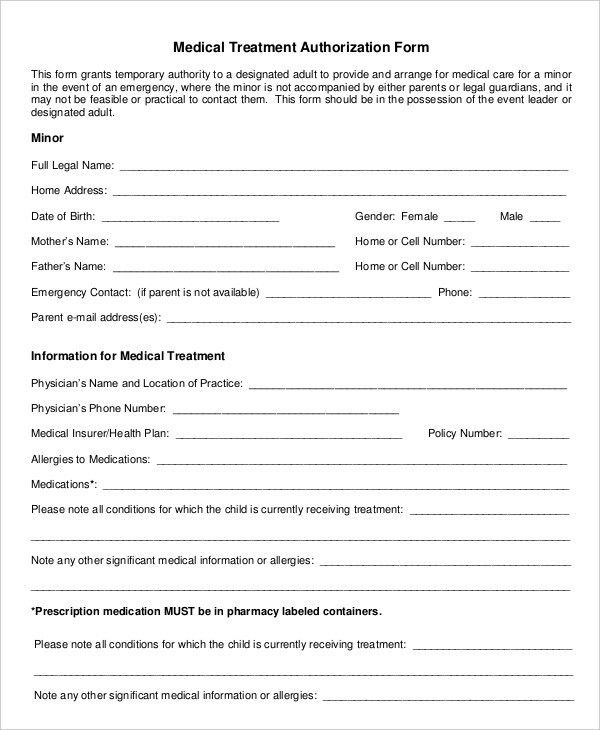 Free Medical Form Templates Sample Medical Authorization Form - free medical form