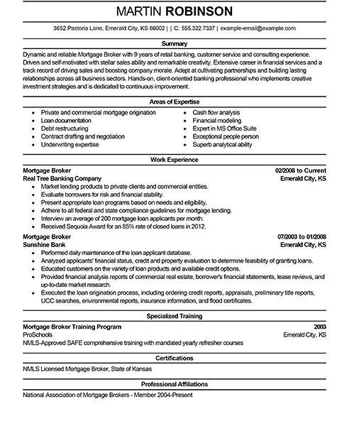 Mortgage Consultant Sample Resume] Broker Resume, Example ...