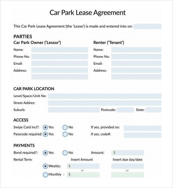 Car Lease Contract Template Car Lease Agreement Template - parking agreement template