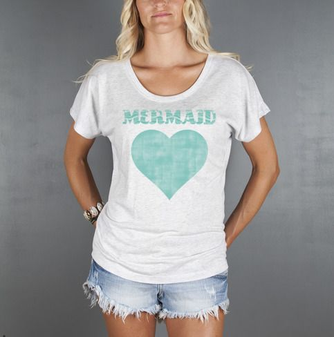 "Women's+Mermaid+Graphic+T-Shirt,+comfortable+Boho+loose+fitting+top+with+flattering+open+scoop+neck+by+Feather+4+Arrow.+Mermaid+vintage+distress+graphic+printed+in+turquoise.      Available+Sizes+and+Dimensions:  Small-+(Length+26+1/4"")+(Bust+37"")+(Waist+38"")  Medium-+(Length+26+3/4"")+(Bust+39"")+..."