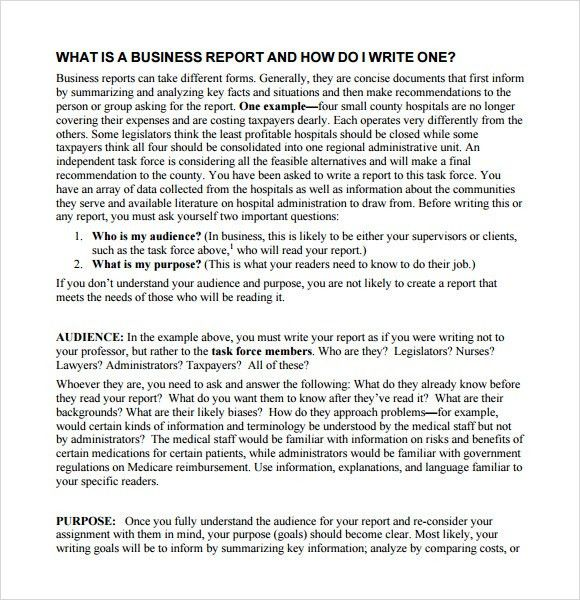 Sample Business Reports 17 Business Report Templates Free Sample - format for a business report
