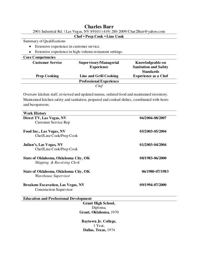 Prep Cook Resume And Line Samples