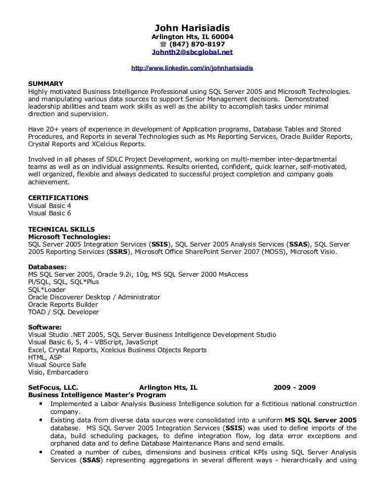 Sample Resume For Sql Server Dba - Madrat.Co