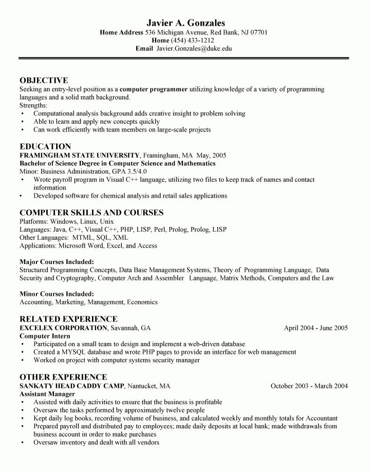 Computer Science Resume Objective Career Center