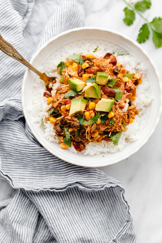 Crock Pot Chicken Taco Chili is an easy slow cooker dump recipe using  freezer and pantry staples! #slowcooker #crockpot #skinnytaste