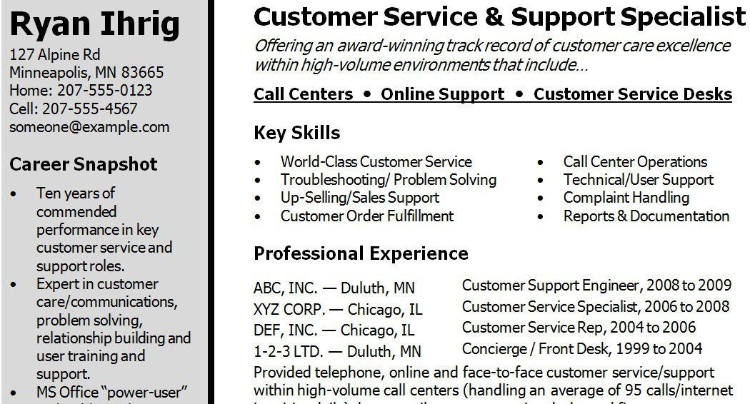 Customer Service Skills Resume Template Customer Service Resume - what to list in the skills section of a resume