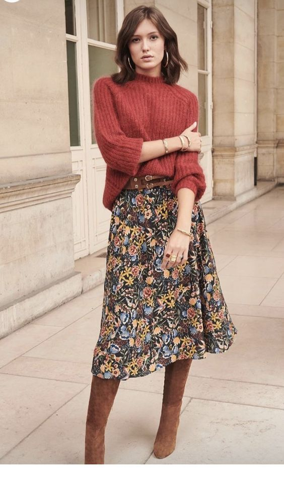 Chic brown sweater and printed long skirt