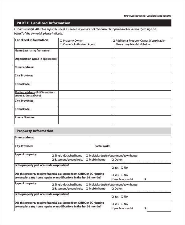 Tenant Verification Form Sample Tenant Verification Form 8 Free - tenant application form