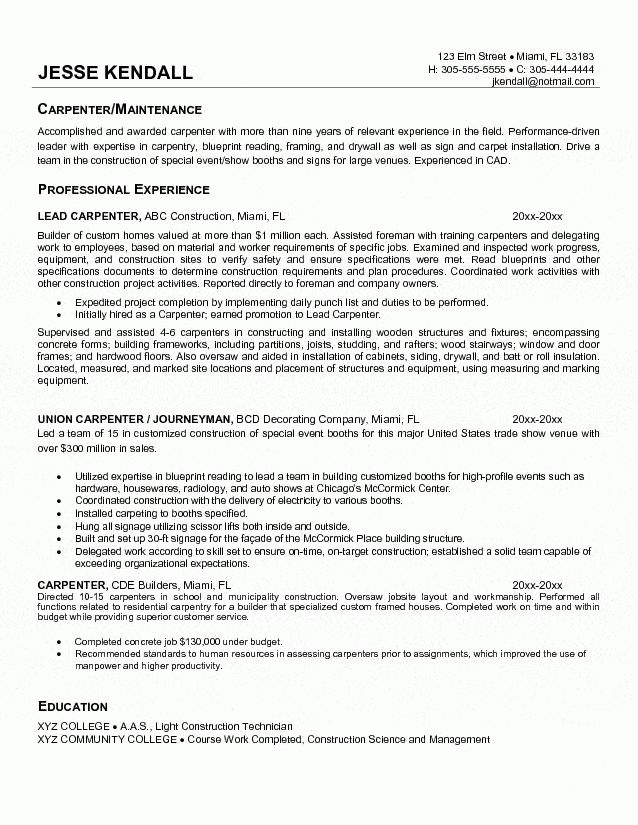 Carpentry Resume Samples Resume, Carpenter Job Description For - carpenter job description