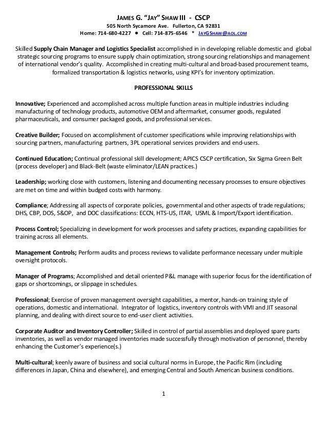 Supply Chain Resumes Manager Resume Sample 17