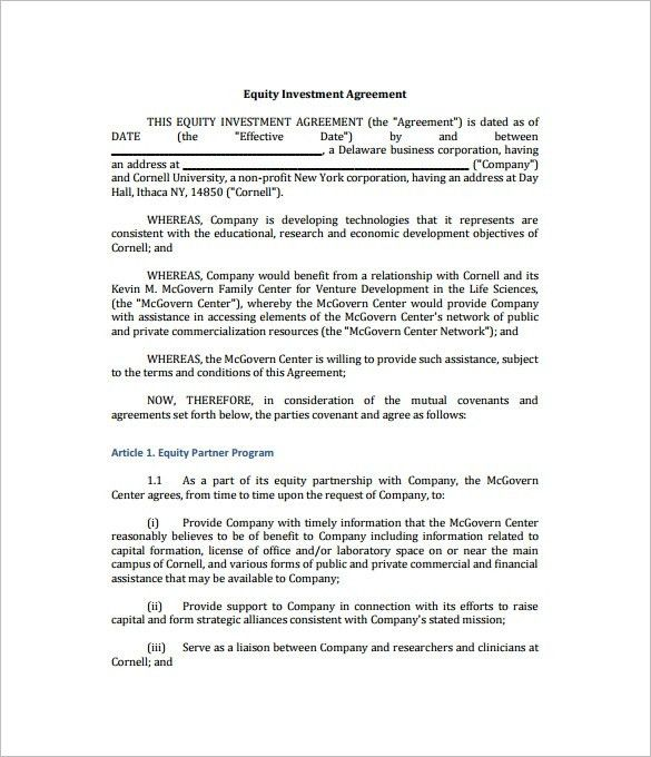 Investor Agreement Template Free 9 Investment Contract Templates - convertible note agreement template