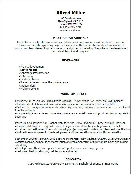 Civil Engineering Resumes Civil Engineering Resume Sample Resume - senior engineer resume