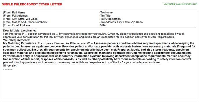 Phlebotomist Cover Letter] Professional Phlebotomist Cover Letter
