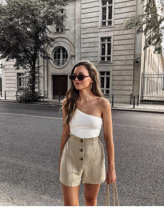 White top, beige shorts