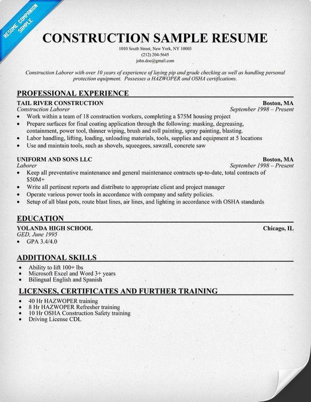 Company Resume Example President Health Software Company Resume - construction resume example