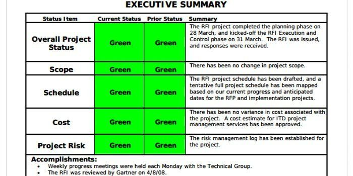 project summary report example templatebillybullock - executive summary format for project report