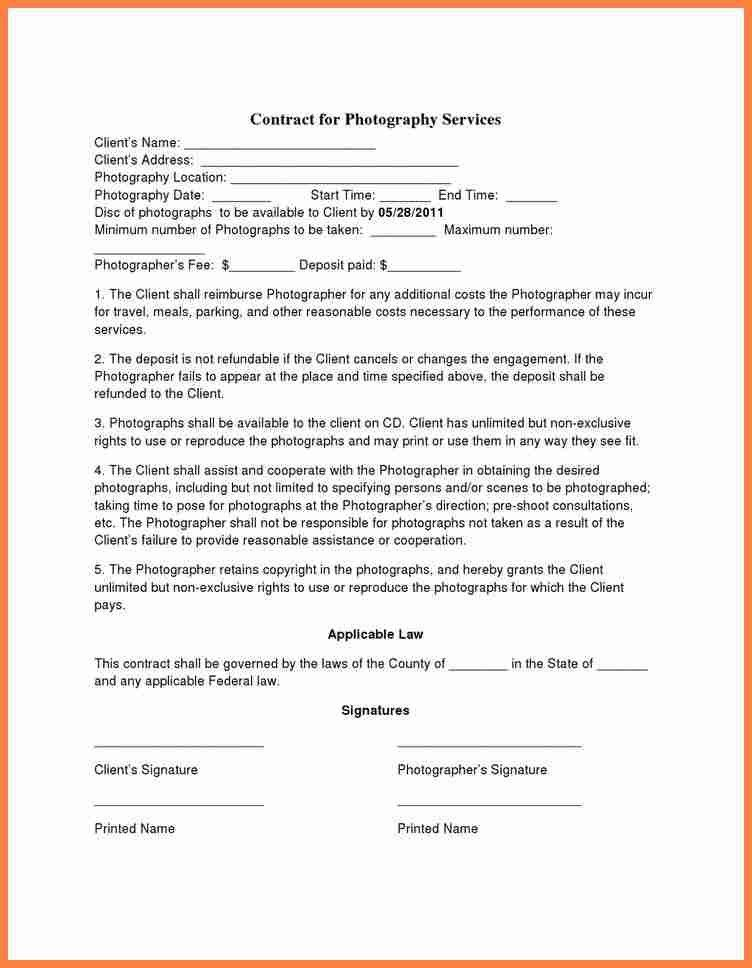 Photographer Contract Template 25 Best Photography Contract Ideas - photography services contract