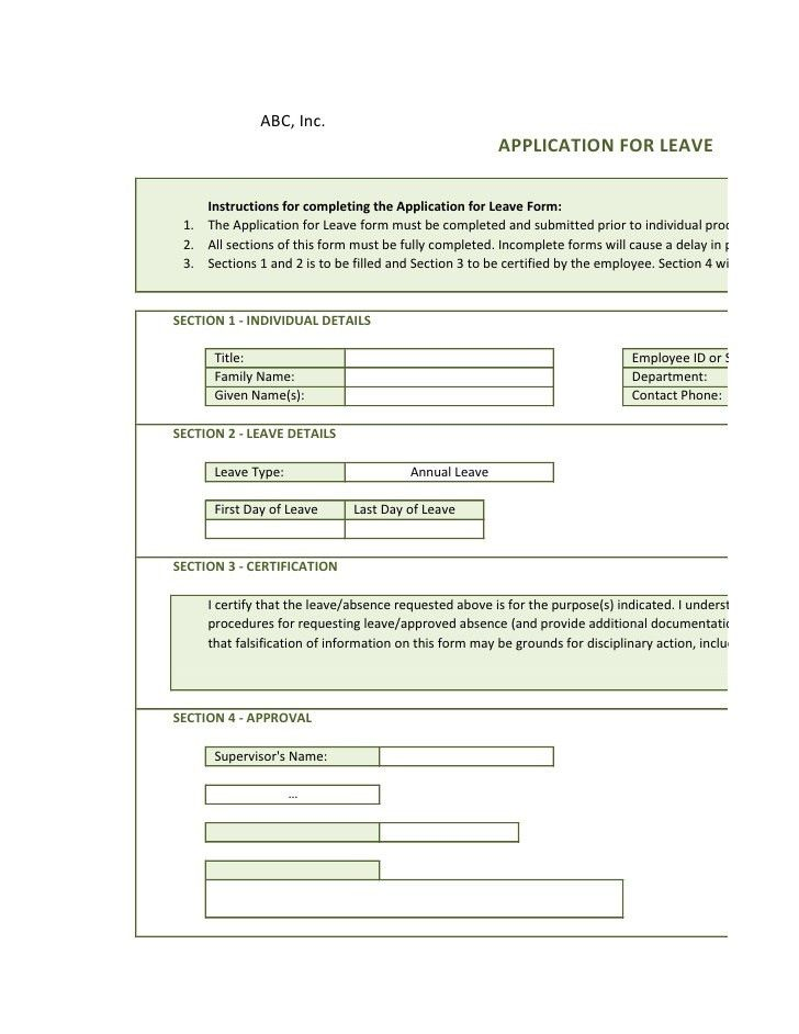 Application For Leave Template application for leave format - example of leave form
