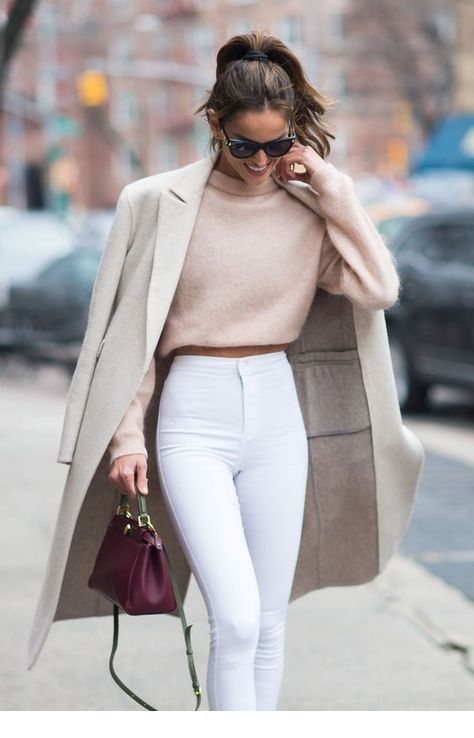 Nice beige sweater and coat with white pants