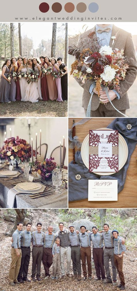 shades of brown ,marsala and dusty blue fall and winter wedding color combos