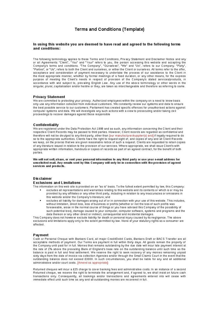 Terms And Conditions Template Sample Terms And Conditions - sample terms and conditions template